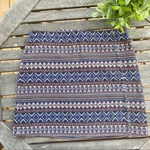 Cato navy rust tribal fringe mini skirt
